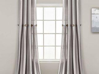 Set of 2 lush Decor linen Button Single Panel Window Curtain