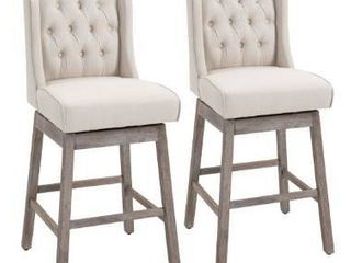 HomCom 2 Piece Bar Height Chair Swivel Barstool with Integrated Footrest  Solid Wood Design  and a 180 Degree Rotation   Beige Retail  359 99