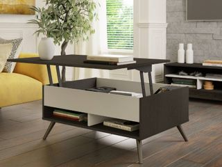 Bestar 17160 1132 37 in  Small Space Krom lift Top Storage Coffee Table  Deep Grey   White