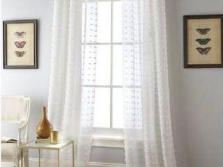 37 x 95 White Nanshing Payton Solid Grommet Top  Curtain Panel Pair