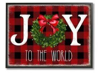 24 x 30 Stupell Industries Joy To World Christmas Charm Buffalo Plaid Canvas Wall Art Multi Color