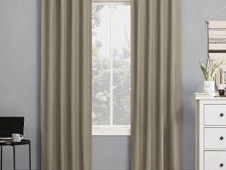 84 x40  Cyrus Thermal 100  Blackout Back Tab Curtain Panel Pair Beige   Sun Zero
