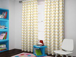 Yellow  Eclipse Wavy Chevron Room Darkening Curtain Panel Pair
