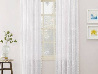 Alison Floral Sheer lace Rod Pocket Curtain Panels  2  White