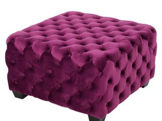 Jaymee Button Tufted Velvet Ottoman by Christopher Knight Home  Fuchsia  Retail 209 49