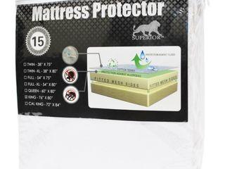 Queen Superior Hypoallergenic 100 percent Waterproof Cotton Premium Mattress Protector White