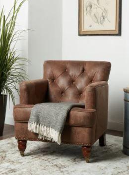 Abbyson Tafton Antique Brown Fabric Club Chair   Retail 410 99