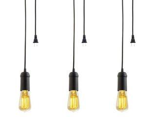 Edison 1 light Matte Black Plug In Pendant  3 Pack