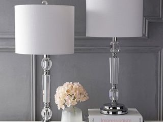 Victoria 27  Crystal lED Table lamp  Clear  Set of 2  by JONATHAN Y  Retail 135 49