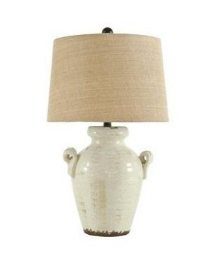 Emelda Ceramic Table lamp Cream   Signature Design by Ashley