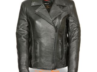 3Xl  Women s Black leather Jacket with Braid and Stud Details  Retail 189 99