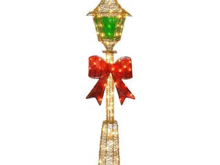60 inch Gold Wire lamp Post with Green PVC Film and Red Bow  85 Clear Indoor  Outdoor lights  Retail 120 99
