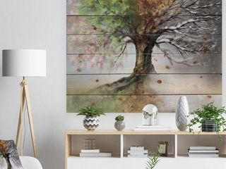 Designart  Tree with Four Seasons  Tree Painting Print on Natural Pine Wood   Green  Retail 129 99
