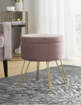 Round Velvet Storage Ottoman with Gold Metal legs   Tray Top Table  Retail 78 98