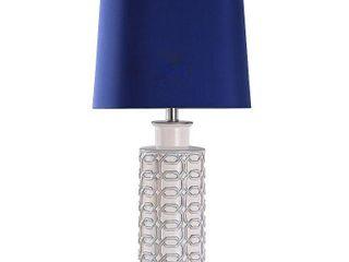 Cream  Blue  Brushed Nickel  StyleCraft Cream link Octagon Pattern Column Table lamp   Blue Drum Shade  Retail 79 98