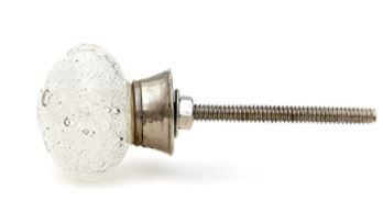 Clear Bubbles Round Glass Drawer or Door Knob Pulls  Pack of 6