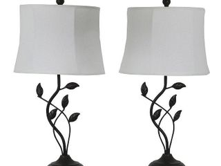 Null  Olivia leaf Bronze Finish Metal Modern Table lamps  Set of 2  Retail 97 49