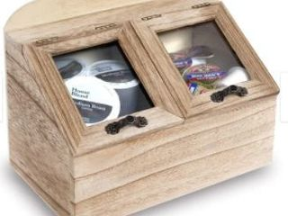 2 Compartments Wooden Kitchen Storage Chest Box with lid