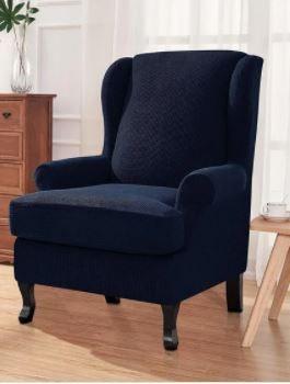 Wingback Chair Slipcover  Dark Blue