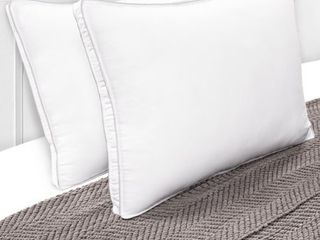 Superior Hypoallergenic 100  Microfiber Gusset Standard Pillow in White  Set of 2