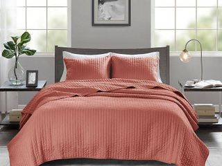 Mitchell Full Queen 3pc Reversible Coverlet Set Coral
