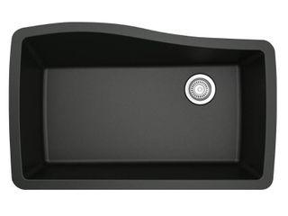 Karran Undermount Quartz Composite 33 in  Single Bowl Kitchen Sink in Black