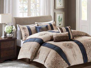 Navy Perry Comforter Set California King 7pc