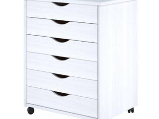 Adeptus White Solid Wood 6 drawer Wide Roll Cart  Retail 117 49