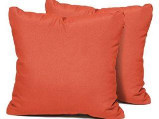 Orange  Tangerine Outdoor Throw Pillow Square 15x15  Set of 2