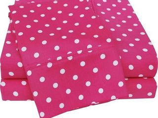 Impressions 600 Thread Count Cotton Rich Sheet Set  Full  Polka Dot  Pink