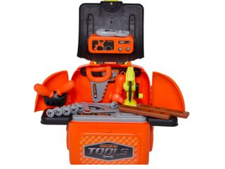 Qaba 34 Piece Kids Tools Play Set Backpack Realistic Workbench Construction Toy for Fun Pretend Workshop  Orange