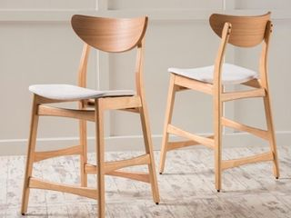 light Beige   Natural Oak Carson Carrington lund Wood 24 inch Counter Stools  Set of 2 Retail 175 99