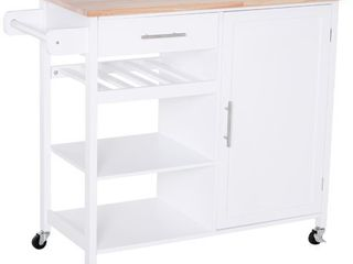 White Portable Wood HOMCOM Rolling Kitchen Island Cart with large Countertop  Retail 241 49