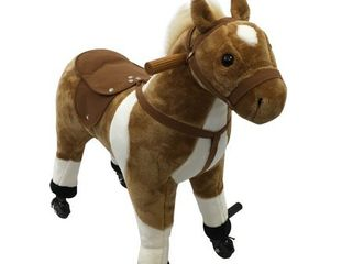 Qaba Extra large Kids Plush Ride On Toy Walking Horse with Wheels and Realistic Sounds  Brown  Retail 113 49