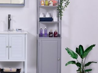 Kleankin Freestanding Bathroom Tall Storage Cabinet Organizer Tower with Open Shelves  amp  Compact Design  Retail 114 49