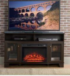 Wilson Oak Finish TV Stand  No Fireplace Insert  Retail 374 49
