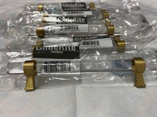 GlideRite 5 in  Center Acrylic Cabinet Bar Pull  Satin Gold