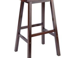 29  Satori Saddle Seat Barstool   Antique Walnut   Winsome