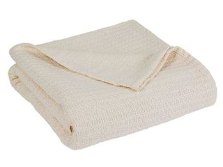 Elite Home Grand Hotel All Natural 100 Percent Cotton Basket Woven Blanket Full Queen Size  Ivory