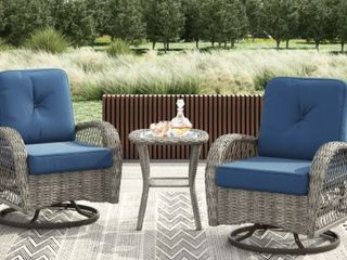 Blue Corvus livorno Outdoor 3 piece Wicker Chat Set with Swivel Chairs Retail  542 49