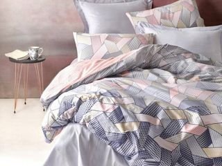 SUSSEXHOME Blush in Gray Full Size Duvet Cover Set Hypoallergenic  Retail 101 49