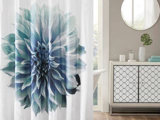 Shower Curtain Floral Aqua