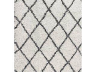 Mercer Shag Plush Tassel Moroccan Trellis GeometricArea Rug Retail 96 99