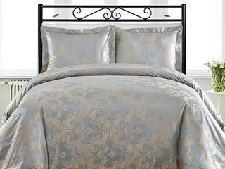 King Comfy Bedding Blue Cotton Blend 450 Thread Count 3 piece Duvet Cover Set Retail  75 48