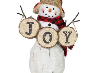 Multi   Resin  Exhart JOY Sign lED Snowman Statue on a Battery Powered Timer  12 Inch
