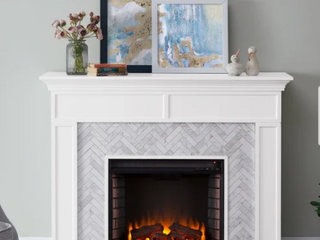 Torton Contemporary White Wood Electric Fireplace  Insert Only