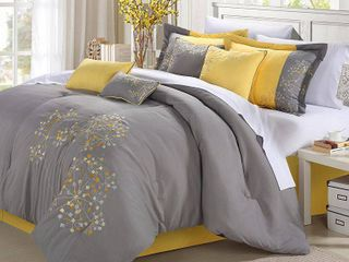 Chic Home 8 Piece Embroidery Comforter Set  Queen  Pink Floral Yellow