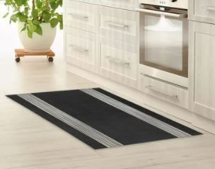 BAND BlACK   WHITE Kitchen Mat by Kavka Designs  Retail 95 49