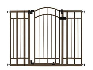 Summer Multi Use Decorative Extra Tall Walk Thru Baby Gate  Metal  Bronze Finish 36  Tall  Fits Openings up to 28 5  to 48  Wide  Baby and Pet Gate for Doorways and Stairways