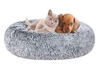 Poohoo Calming Faux Fur Donut Cuddler Dog Bed Washable Round Cat Bed Pillow Cuddler Gradient Color 23 30  for Small Medium Dogs  l 30  Grey